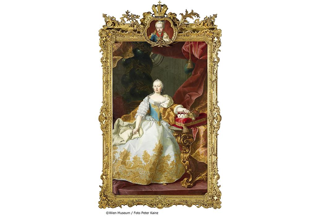 マルティン・ファン・メイテンス《マリア・テレジア(額の装飾画:幼いヨーゼフ2世)》1744年