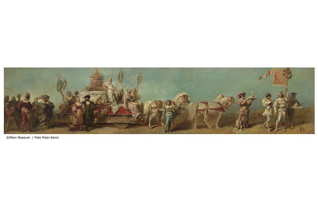 ハンス・マカルト《1879年の祝賀パレードのためのデザイン画――菓子製造組合》1879年