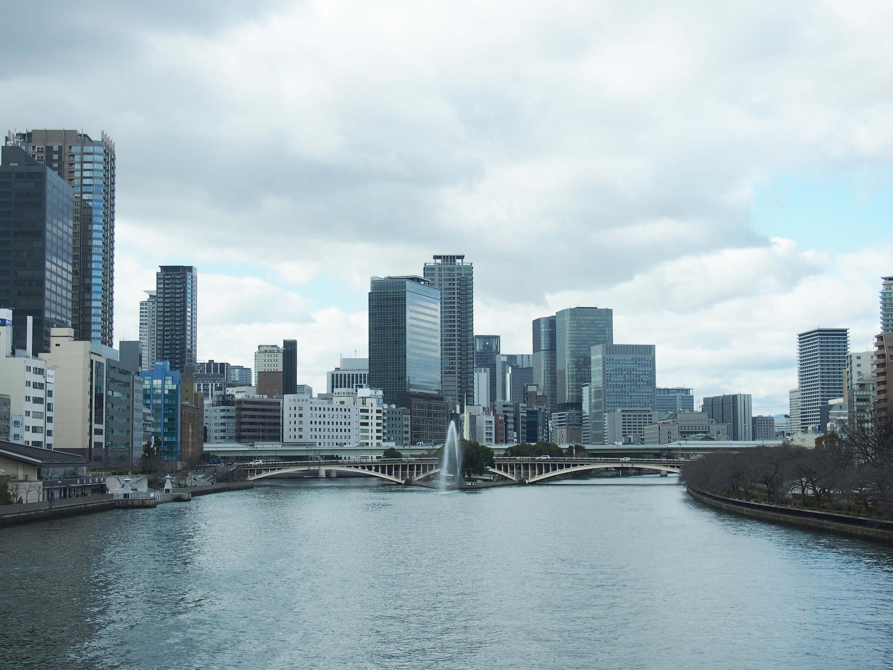 岸田さんが「中之島が最も美しく見えるおすすめのスポット」だという、天満橋の中ほどからの光景。ゆるやかに流れる川をまたぐ、天神橋の橋脚のアーチ形状が美しい。